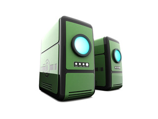 Two green computer servers