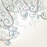 Abstract floral background with snails