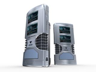 Two futuristic computer servers