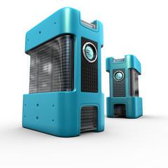 2 blue computer servers