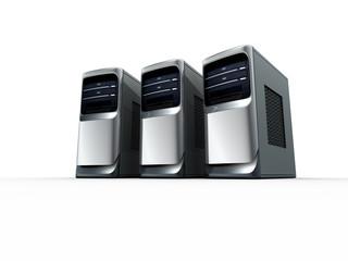 3D model of three computer servers