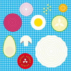 Vector set of raw vegetables