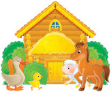 Foal, goose, chick and lamb in an animal farm poster