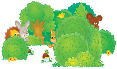 Hedgehog, hare, bear, bird and squirrel in a forest