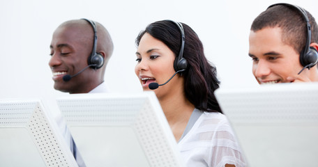 Multi-ethnic busines team working in a call center