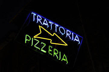 Trattoria and pizza sign
