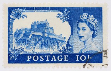 Ten shilling stamp depicting Edinburgh Castle