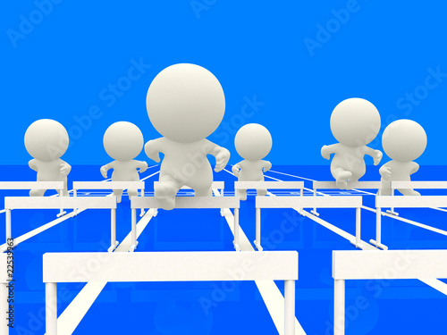 3D people competing at hurdles