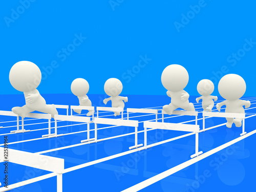 3D people competing at the hurdles
