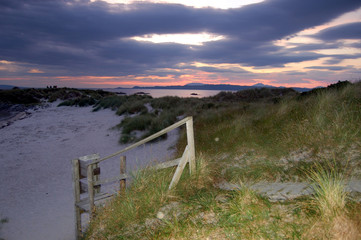 Sunset and boardwalk at Arisaig