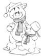 Bär, Teddy, Teddybär, Schneemann, Schnee, Winter