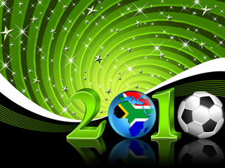 Football 2010 background with brightening stars