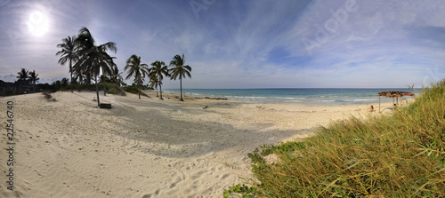Panoramic view of tropical beach at Santa Maria,  Cuba.