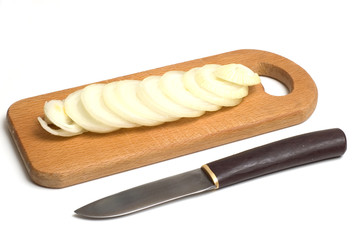 onion on the wooden board