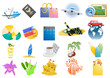 Vector illustration of travel icons on a white background
