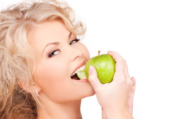young beautiful woman with green apple