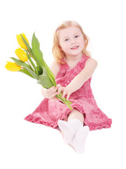 little girl with tulip isolated on white