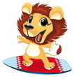 Baby lion with surf. Funny cartoon and vector character