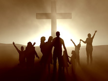 Ludzie przy krzyżu