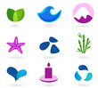 Wellness, relaxation and medical icons - blue and pink