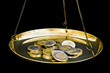 Euro coins on scales