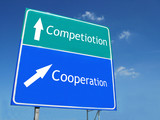 Competiotion-Cooperation road sign poster