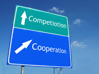 Competiotion-Cooperation road sign