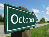 OCTOBER road sign poster