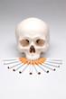 Totenkopf mit vielen Zigaretten
