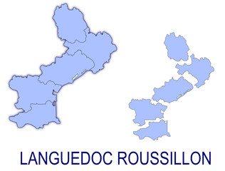 carte languedoc roussillon France départements