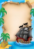 Parchment with pirate vessel-