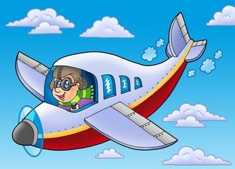 Cartoon aviator on blue sky
