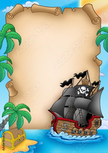 Parchment with pirate vessel