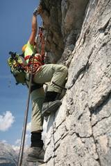 Climber at a via ferrata