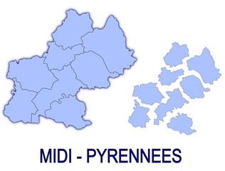 carte région midi pyrénnées France départements