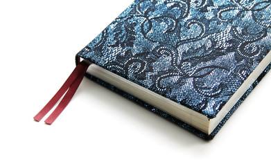 Notebook in a bright dark blue cover