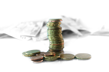 Geld münzen stapel