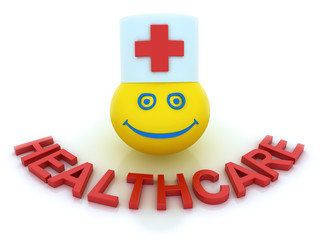 Healthcare concept with a smile symbol isolated on white
