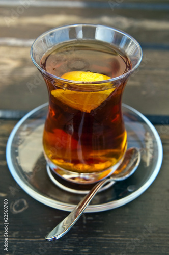 Hot turkish tea with lemon