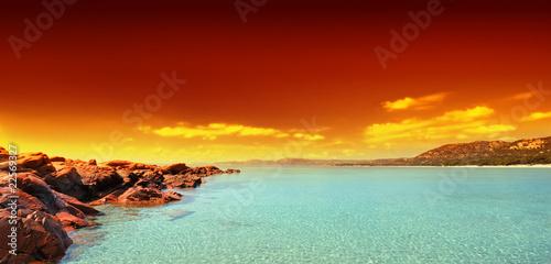 Obraz na Szkle plage et ciel de feu
