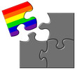 Jigsaw showing a piece containing a rainbow flag