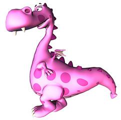 pink baby dragon walking down
