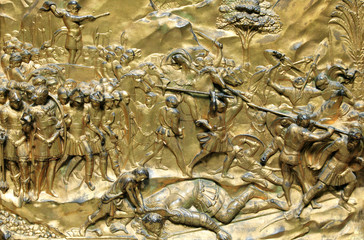 Medieval 15h century gilded relief of David and Goliath