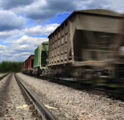 Cargo train in motion