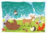 Fototapety Animals in the wood. Funny cartoon and vector illustration