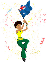 Black Girl Australia Soccer Fan with flag.