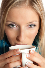 Caucasian woman with cup of coffee