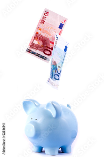 Piggy Bank With Falling Notes