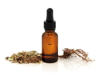 Valerian Root and Tincture Bottle