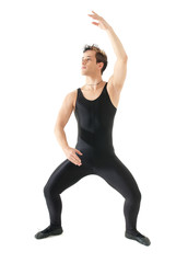 Young man dancing ballet isolated on white background.